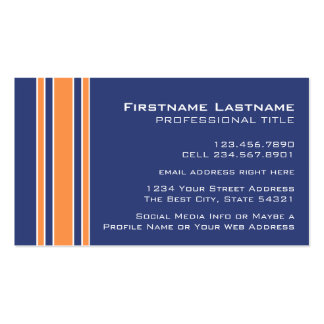 Blue Orange Sports Jersey with Name and Number Pack Of Standard Business Cards