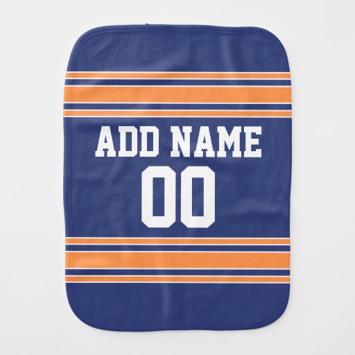 Blue Orange Sports Jersey with Name and Number Baby Burp Cloths