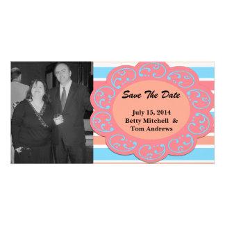 Blue Orange Striped Save the Date Photo Card Template
