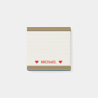 Blue & Orange Stripes/Lines Pattern & Custom Name Post-it Notes