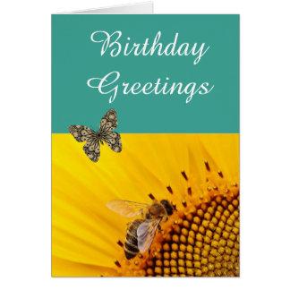 Blue Orange Sunflower  Butterfly Birthday Card