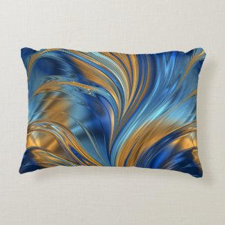 Blue orange swirls decorative cushion