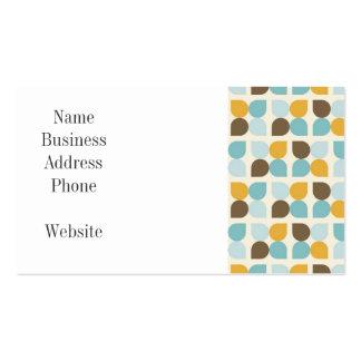 Blue Orange Tan Fall Colors Leaf Pattern Business Card Template