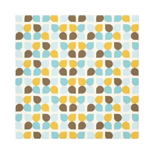 Blue Orange Tan Fall Colors Leaf Pattern Stretched Canvas Prints