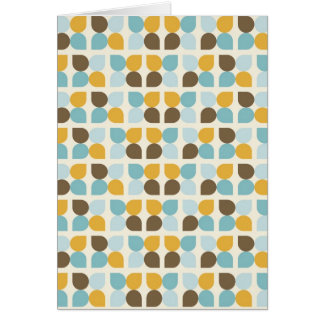 Blue Orange Tan Fall Colors Leaf Pattern Greeting Card