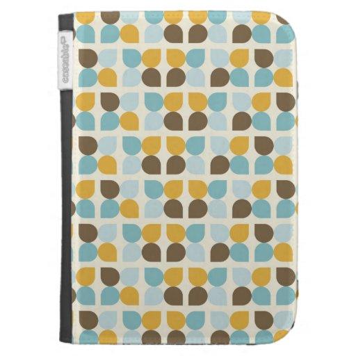 Blue Orange Tan Fall Colors Leaf Pattern Kindle Keyboard Case