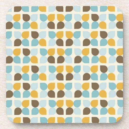 Blue Orange Tan Fall Colors Leaf Pattern Beverage Coasters