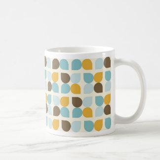 Blue Orange Tan Fall Colors Leaf Pattern Coffee Mug