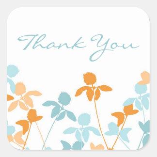 Blue Orange Thank You Wedding Envelope Seals Square Sticker