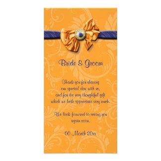 """Blue orange wedding """"thank you"""" #2 photo cards"""