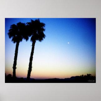 blue orange yellow sunset w/ palm trees poster