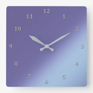 Blue Orchid Diagonal Shades Gradient Gray Numbers Square Wall Clock