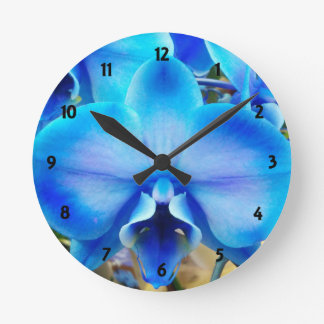 Blue Orchid Round Clock