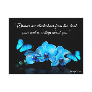 Blue Orchids and butterflies with quote Canvas Print