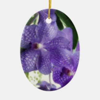 Blue Orchids Painterly Ornament