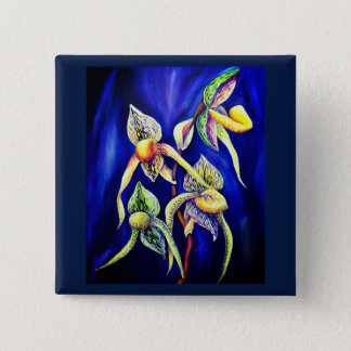 Blue orchids  painting 15 cm square badge