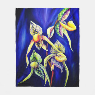 Blue orchids  painting fleece blanket