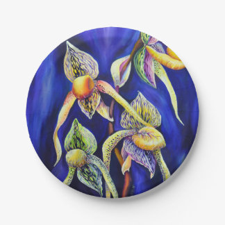 Blue orchids  painting paper plate