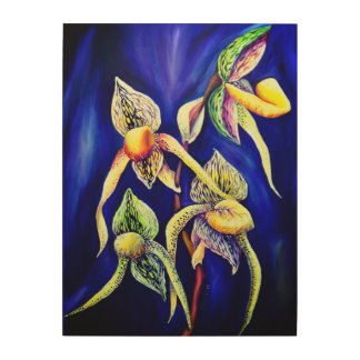 Blue orchids  painting wood wall decor