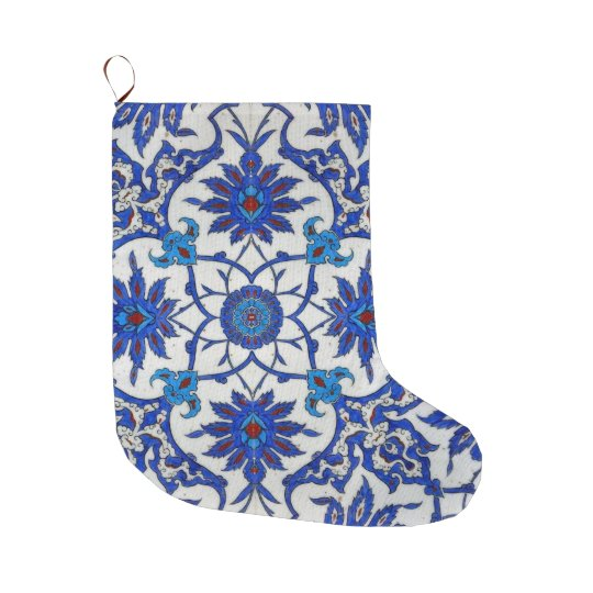 Blue Orient Mosaic Large Christmas Stocking