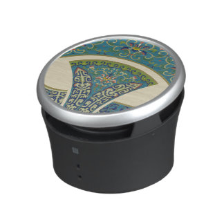 Blue Oriental Designs with Smiling Faces Bluetooth Speaker