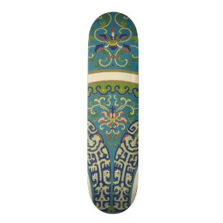 Blue Oriental Designs with Smiling Faces Skateboard Decks