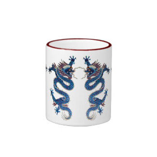 Blue oriental dragons antique Chinese embroidery Mug