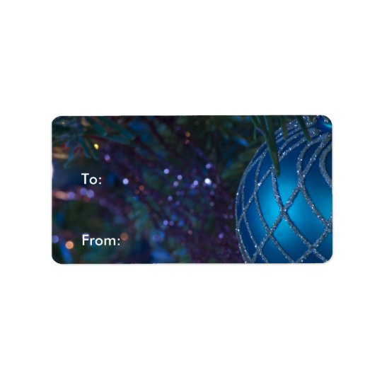 Blue Ornament Gift Labels