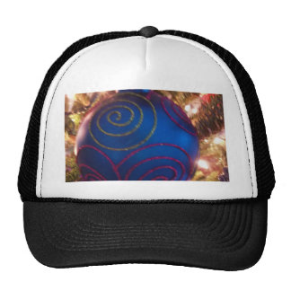 Blue Ornament Happy Holiday Christmas sparkly Trucker Hats