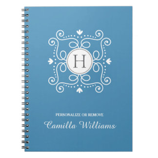 Blue ornament personalized monogram initial note book