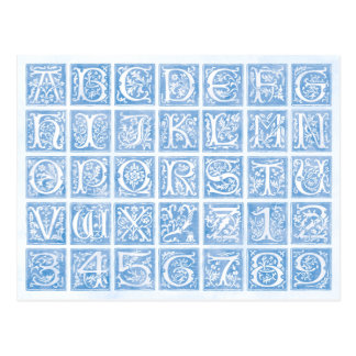 Blue Ornamental Alphabet and Numbers Postcard