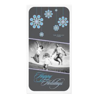 Blue Ornamental Flowers Happy Holidays Photo Card