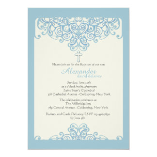 Blue Ornamental Religious Invitation
