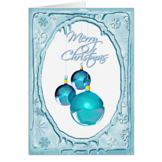 BLUE ORNAMENTS & SNOWFLAKES by SHARON SHARPE Card