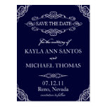 Blue Ornate Flourish Save the Date Post Card