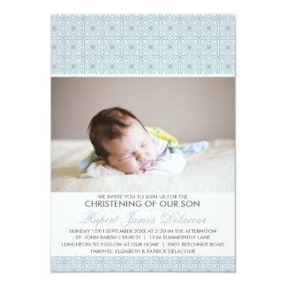 "Blue Ornate Pattern Photo Christening Invitation 5"" X 7"" Invitation Card"