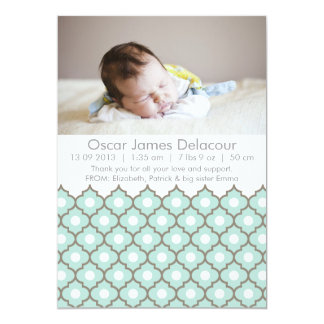Blue Ornate Tile Pattern Photo Birth Announcements