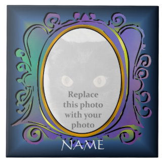 Blue Oval Photo Frame with Name Tile