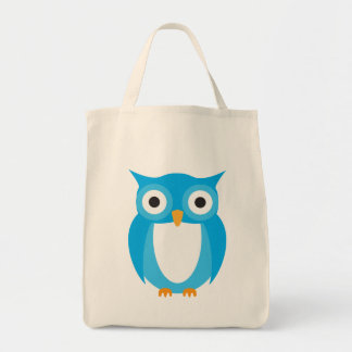 Blue Owl - Add Your Own Text Grocery Tote Bag