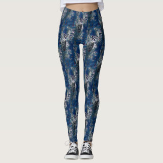 Blue Owl and Grapes Pattern Leggings