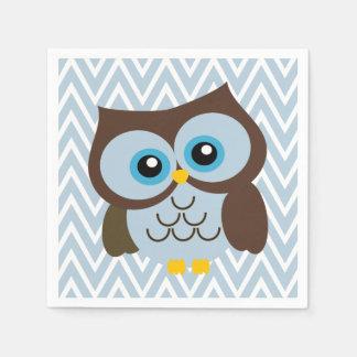 Blue Owl and Pastel Blue Chevron Zigzag Napkins Paper Napkins