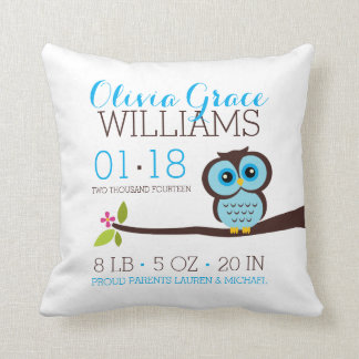 Blue Owl Baby Birth Announcement Cushions