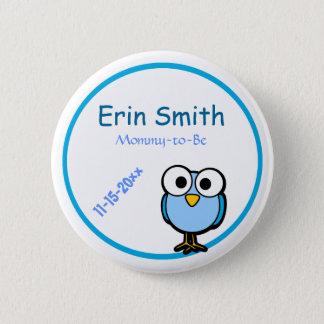Blue Owl  Baby Shower 6 Cm Round Badge
