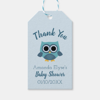 Blue Owl Baby Shower / Birthday Tags - Favour Tags