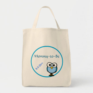 Blue Owl  Baby Shower Grocery Tote Bag