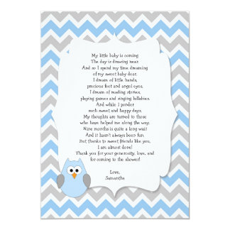 Blue Owl Baby shower thank you notes with poem 13 Cm X 18 Cm Invitation Card