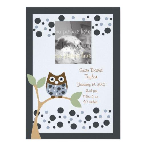 Blue Owl Birth Announcment.. Custom Invites