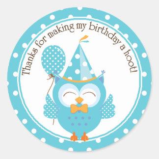 Blue Owl Birthday Thank You Round Sticker