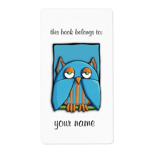 Blue Owl blue Bookplate Label