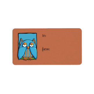 Blue Owl blue brown Gift Tag Label Address Label